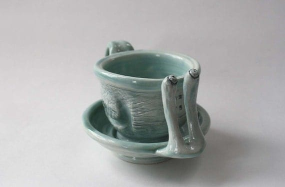 oops! Sea Foam RELAX Cup And Saucer Snail Shaped Set