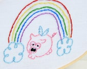 Flying Pig PDF Hand Embroidery Pattern