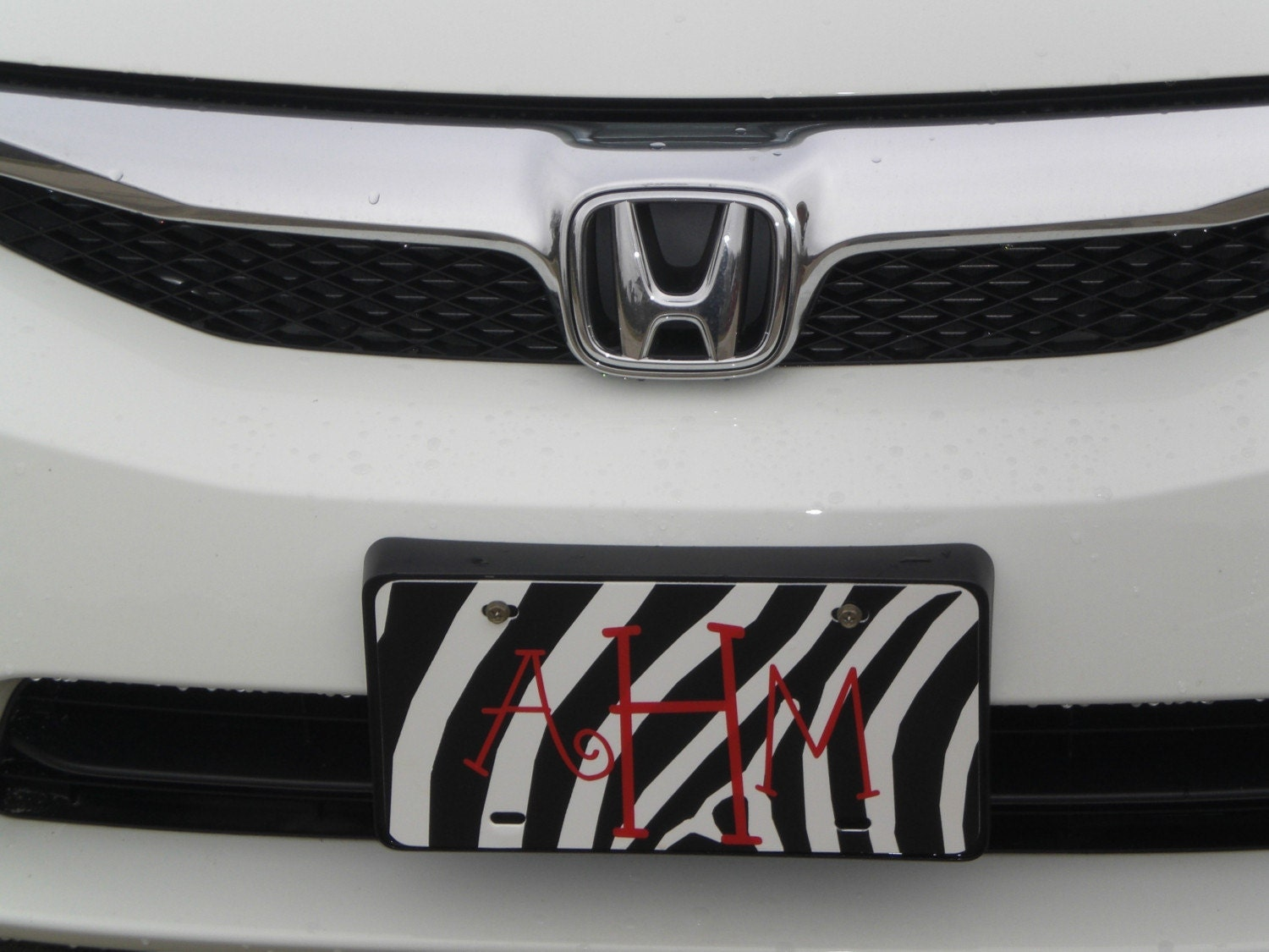 Zebra Print License Plate Frame Made of Metal -