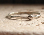 Sterling Silver Stacker Ring with Sterling Pebble