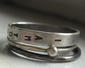 Sterling silver wedding set personalized stacking rings