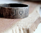 Handmade distressed personalized sterling silver band for men