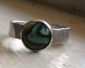 Abalone Ring - Rustic Hammered Sterling Silver
