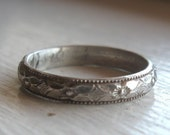 Stacking ring sterling silver flower and diamond pattern