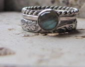 Handmade Labradorite Engagement Ring Set