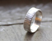 with RUSH PRODUCTION Sterling Silver Hammered Tree Bark Ring