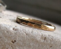 Unisex hammered brass ring