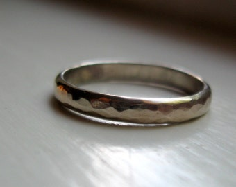 White gold wedding band - mens and womens