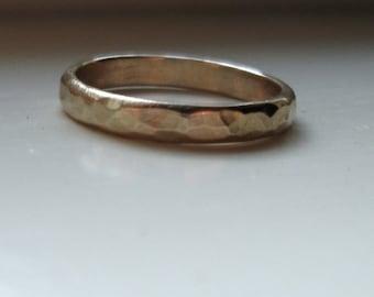 Rustic 14k gold unique wedding ring