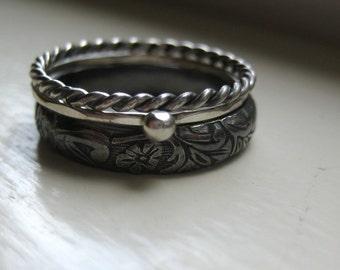 Dark Silver Stacking Rings
