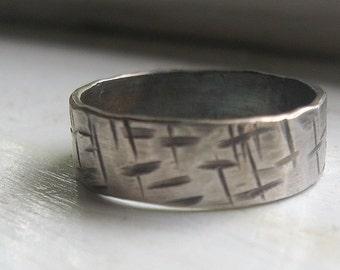 Mens Wedding Band rustic Ring