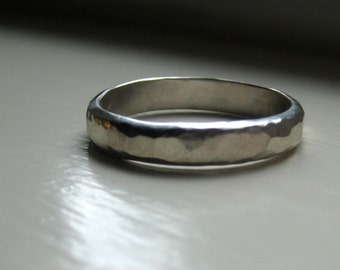 Mens Wedding Ring of Hammered Sterling Silver