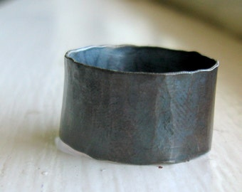 Mens Ring Rustic distressed wide sterling band