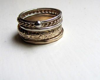 Gold Stacking Rings Five Pieces