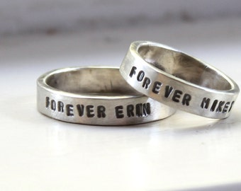 Rustic personalized wedding band