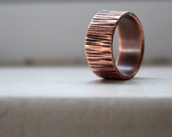Copper Wood Grain Tree Bark Mens Band Ring Faux Bois - recycled metal