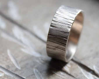 White Gold Tree Bark Wedding Ring