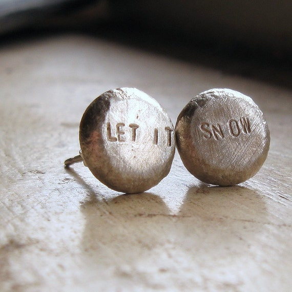 Recycled silver post earrings