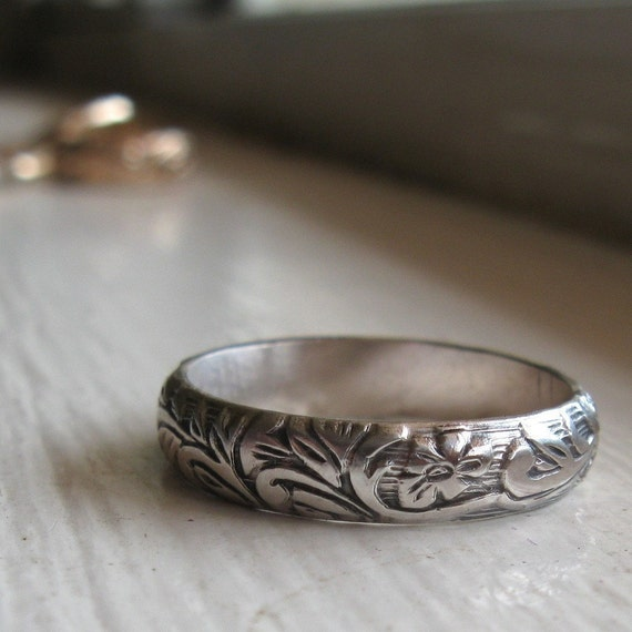 Rustic sterling renaissance wedding band