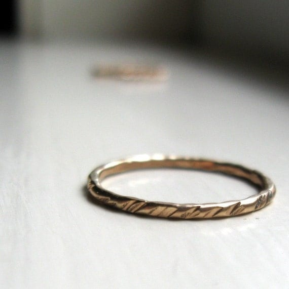 Rustic textured gold stacking ring