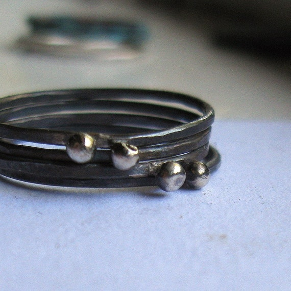 Oxidized silver stacking rings