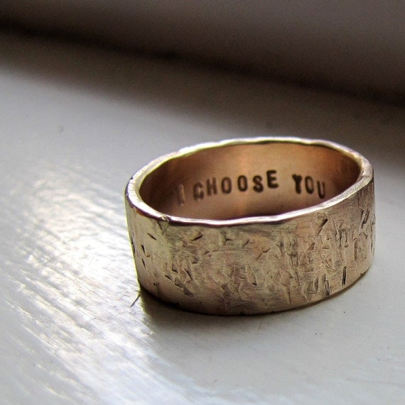 ... 20% NOW Men's Wedding Band - 14k Gold Unique Rustic Distressed Ring