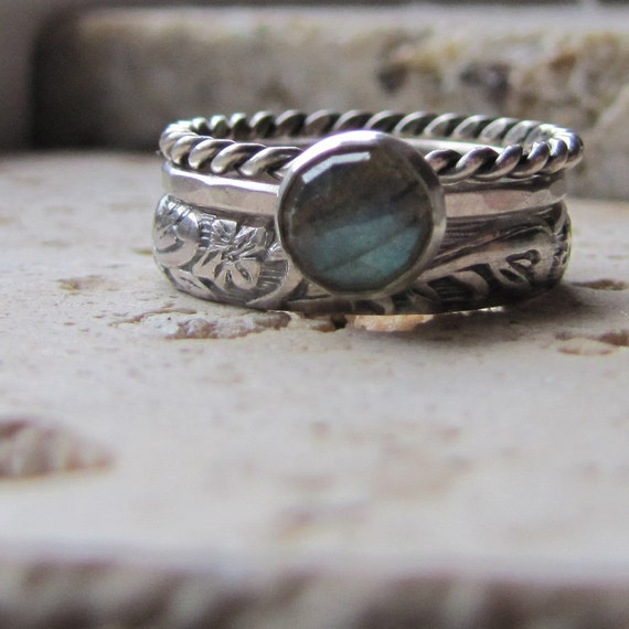 Handmade Labradorite Engagement Ring Set
