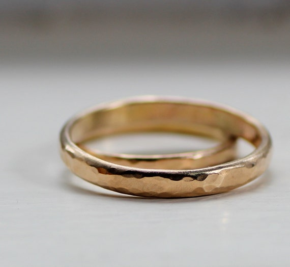 Simple Wedding Band Set Rustic Gold Wedding Bands for men or