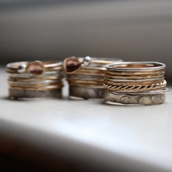 Mixed Metal Stacking Rings - Gold and Silver