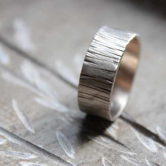 For Christina: 6mm Woodland Tree Bark White Gold Wedding Band  recycled metal