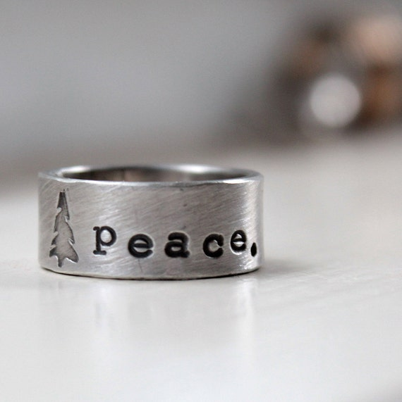 Christmas Tree Peace Ring of Sterling Silver