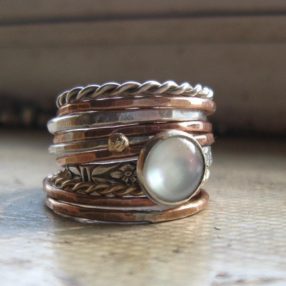 rustic handmade stacking rings sterling silver bronze by