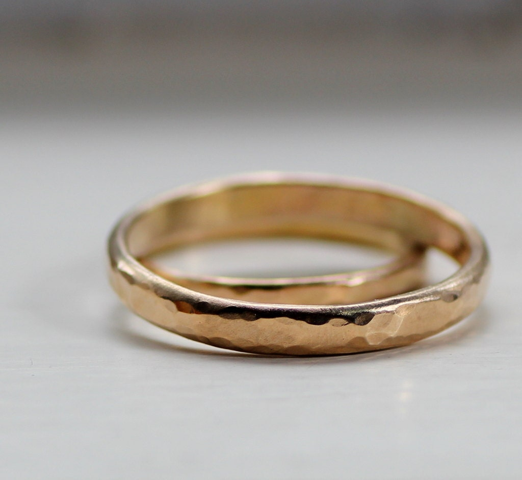 Simplistic Bands: Simple Wedding Band Set Rustic Gold Wedding Bands For Men Or
