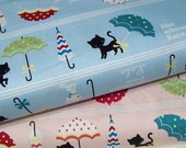 Japanese Canvas Fabric - Lolo the Black Cat - 1/2 yard choose a color