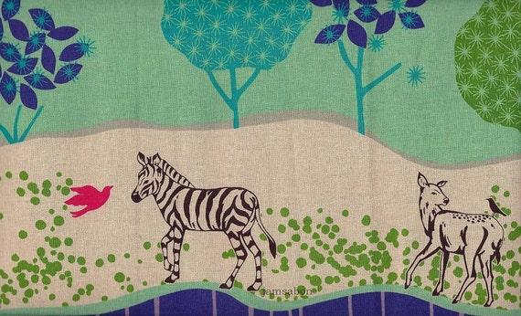 ECHINO by Etsuko Furuya - Border print Grassy Plain (EF505 B Green) - 40 inches, last one
