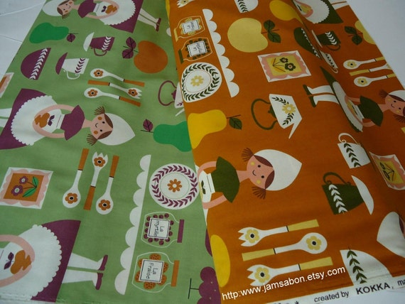 Japanese Cotton - Scandinavian kitchen -  1/2 yard set of 2