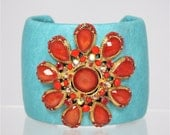 Turquoise and Coral Jeweled Leather Cuff Bracelet
