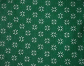 Vintage Waffle Weave Green and White Retro Fabric, 1 Yard