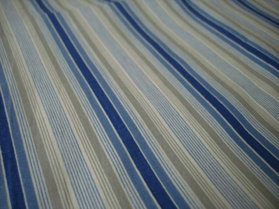 Vintage Blue Tan And White Stripe Fabric By