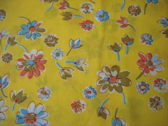 Semi Sheer Yellow Floral Fabric, 1.33 yards