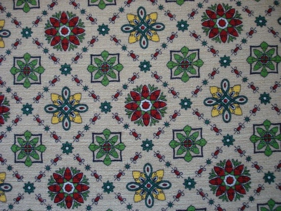 Vintage Barkcloth Fabric Retro Print By Th Yard
