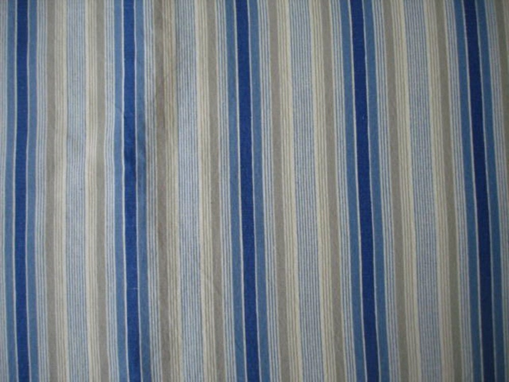 Vintage Blue Tan And White Stripe Fabric 2 5 Yards