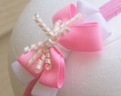 Pink and White Boutique Korker Bow Headband- Toddler to Adult