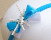 Bright Blue and White Boutique Korker Bow Headband- Toddler to Adult
