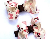 Butterflies and Hearts Pigtail Boutique 2 Inch Hair Bows- Set of Two