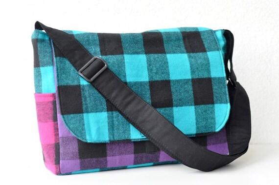 Mixed up Flannel Buffalo Plaid Messenger Bag