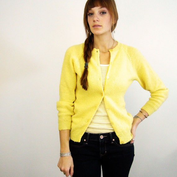 1960s Yellow Songbird Sweet Little Cardi