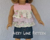 18 inch doll clothes sewing pattern 4 variations Jenny Ruffle Top shirt doll Pattern  Avery Lane PDF Pattern  instant download