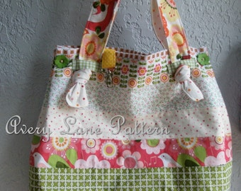 PDF sewing pattern Market Tote Bag with knot straps  Avery Lane Designs Medium size PDF Pattern instant download