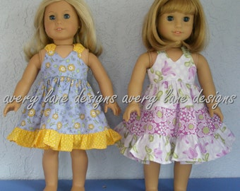doll clothes sewing Pattern Bundle Gracie's Summer Dress pattern Modern Boutique styles 3 variations 2 sizes 15 18 inch dolls PDF Pattern